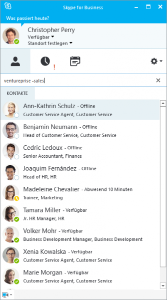 Kontaktsuche mit XPhone Connect im Skype for Business Client