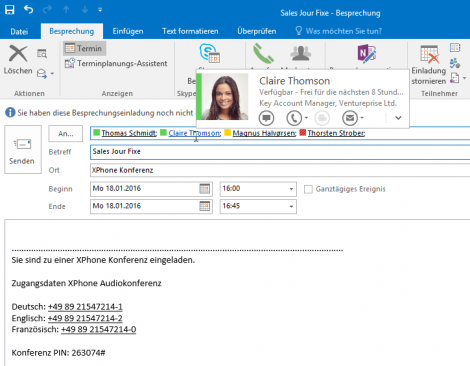 XPhone Connect Präsenzmanagement: Outlook-Integration