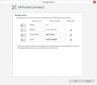 XPhone Connect AnyDevice settings