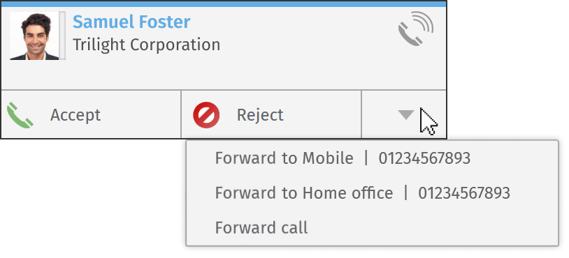 XPhone Connect CTI: caller popup with redirect options