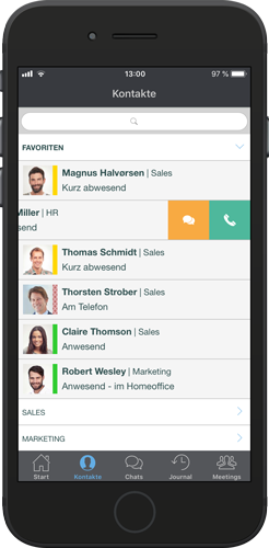 XPhone Connect Mobile App: Kontaktiste mit Präsenzinformationen