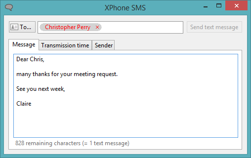 XPhone Connect: send text messages from your PC