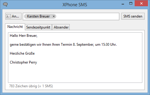 XPhone Connect: SMS-Versand am PC