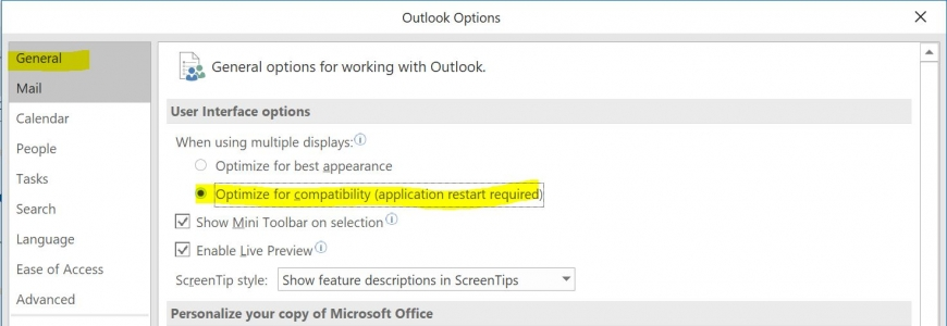 Outlook compatibility